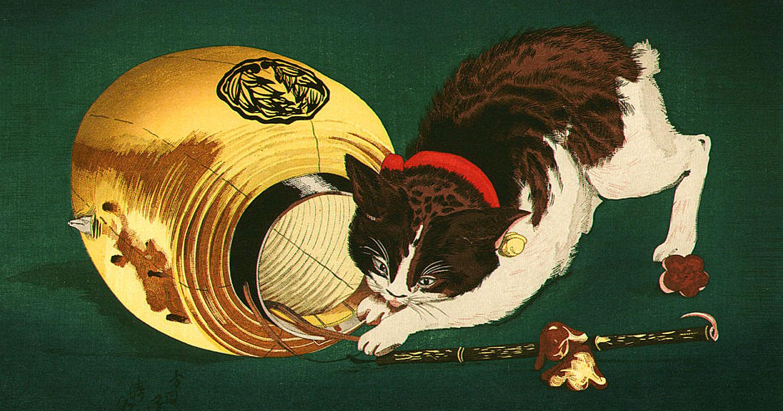 Kiyochika Kobayashi – Cat and Lantern, Japanese Fine Art
