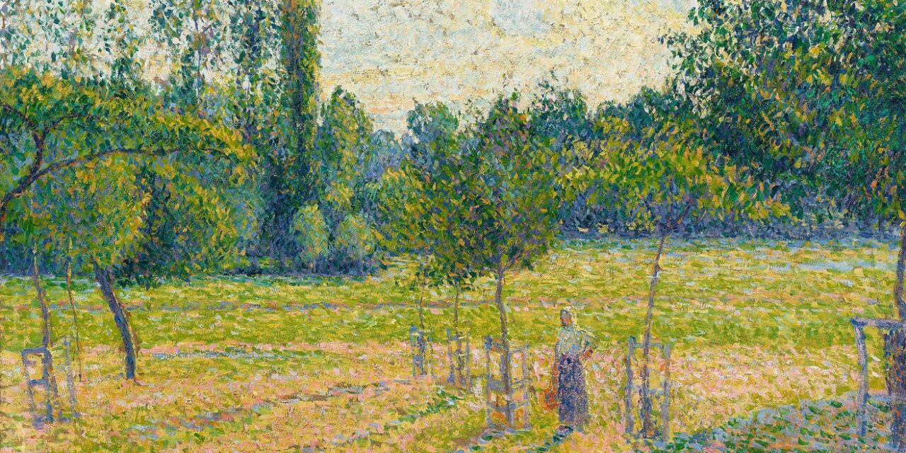 Pissarro – Late Afternoon in Our Meadow – Impressionist Pointillist Excellence 1887